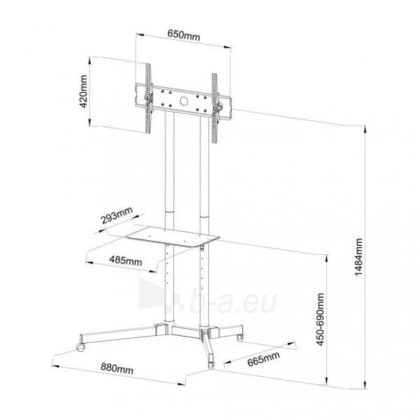 TV laikiklis ART BOARD on wheels+HOLDER TO TV LCD/LED/PLAZMA 30-65 60KG S-08A Paveikslėlis 5 iš 5 310820045027