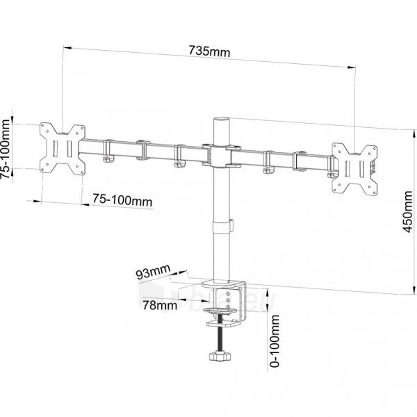 TV laikiklis ART Holder for 2 LED/LCD MONITORS 13-27 L-02N Paveikslėlis 2 iš 2 310820047096