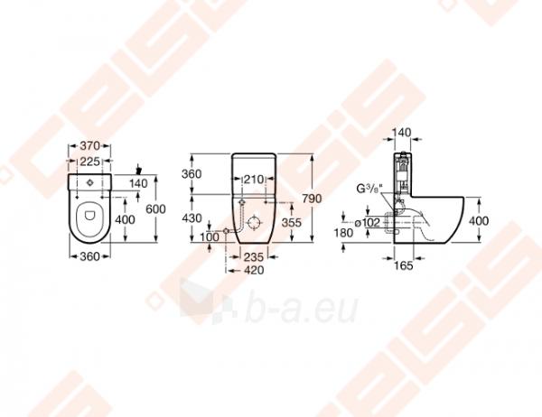 Tualete tvertne ROCA Meridian Compact ar dvigubu 4,5 / 3 litrų nuplovimu Paveikslėlis 2 iš 2 270713001124