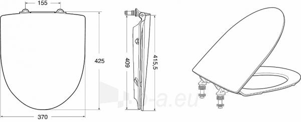 Toilet cover Inspira Art with soft close funkcija, baltas Paveikslėlis 3 iš 3 310820165636