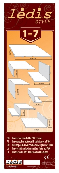 Universalus PVC lankstomas kampas 3 m. baltas Paveikslėlis 2 iš 2 237714000574