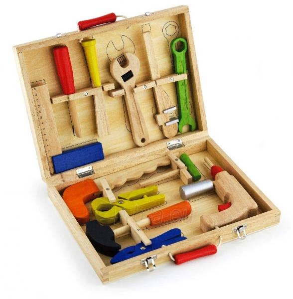 Vaikiškas medinis įrankių rinkinys su atsuktuvu lagamine | Viga Toys Paveikslėlis 1 iš 4 310820160885