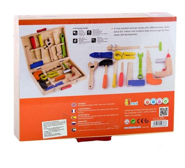 Vaikiškas medinis įrankių rinkinys su atsuktuvu lagamine | Viga Toys Paveikslėlis 4 iš 4 310820160885