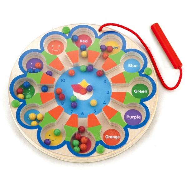 Vaikiškas medinis magnetinis žaidimas-labirintas | Laikrodis | Viga Toys Paveikslėlis 1 iš 2 310820157447