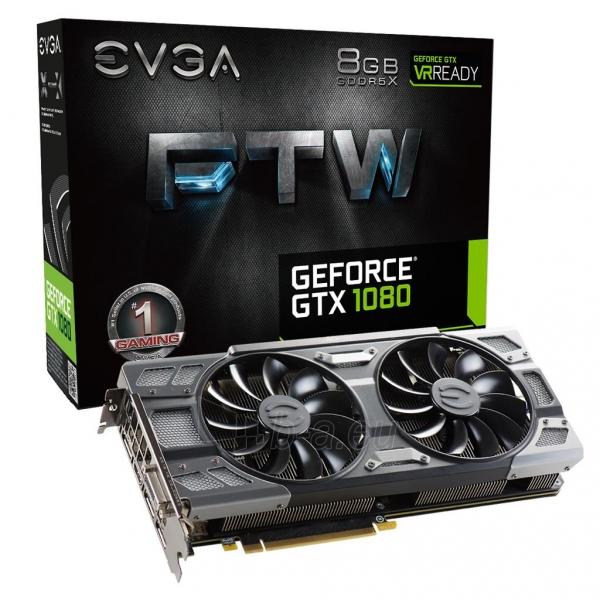 Vaizdo plokštė EVGA GeForce GTX 1080 FTW GAMING ACX 3.0, 8GB GDDR5X (256 Bit), HDMI, DVI, 3xDP Paveikslėlis 1 iš 8 310820047108