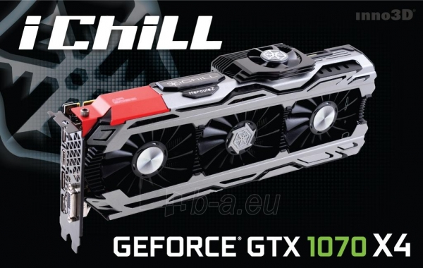Vaizdo plokštė Inno3D iChill GeForce GTX 1070 X4, 8GB GDDR5 (256 Bit), HDMI, DVI, 3xDP Paveikslėlis 2 iš 2 310820045980