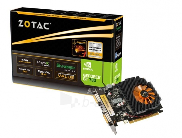 Vaizdo plokštė ZOTAC GeForce GT 730 Synergy Edition, 4GB DDR3 (128 Bit), 2xDVI, miniHDMI Paveikslėlis 1 iš 8 310820011576