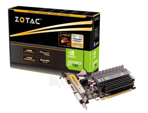 Vaizdo plokštė ZOTAC GeForce GT 730 Zone Edition Low Profile, 4GB DDR3 (64 Bit), HDMI, DVI, VGA Paveikslėlis 1 iš 9 310820011577