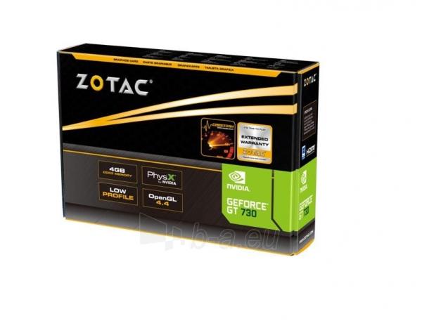 Vaizdo plokštė ZOTAC GeForce GT 730 Zone Edition Low Profile, 4GB DDR3 (64 Bit), HDMI, DVI, VGA Paveikslėlis 7 iš 9 310820011577