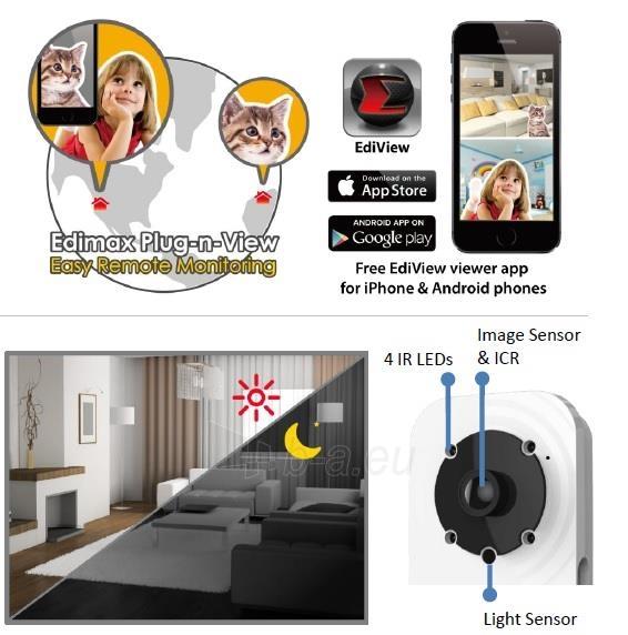 Edimax 720p Wireless H.264 IR IP Camera, PIR sensor, 2-way audio, Night view Paveikslėlis 8 iš 9 250243100510