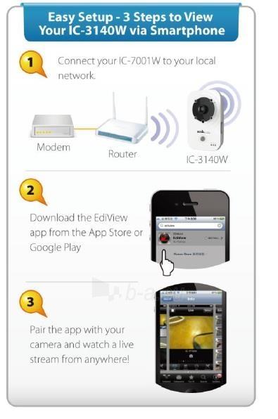Edimax 720p Wireless H.264 IR IP Camera, PIR sensor, 2-way audio, Night view Paveikslėlis 9 iš 9 250243100510