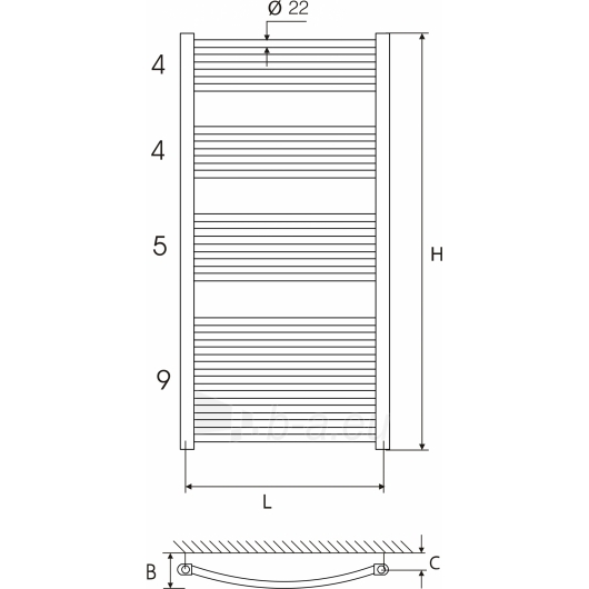 Vandeninis rankšluoščių džiovintuvas ELONIKA EP 50X120 KL/KLD Paveikslėlis 2 iš 2 270651000484