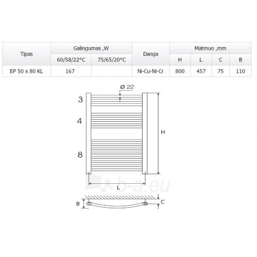 Vandeninis rankšluoščių džiovintuvas ELONIKA EP 50X80 KL/KLD Paveikslėlis 1 iš 1 270651000485
