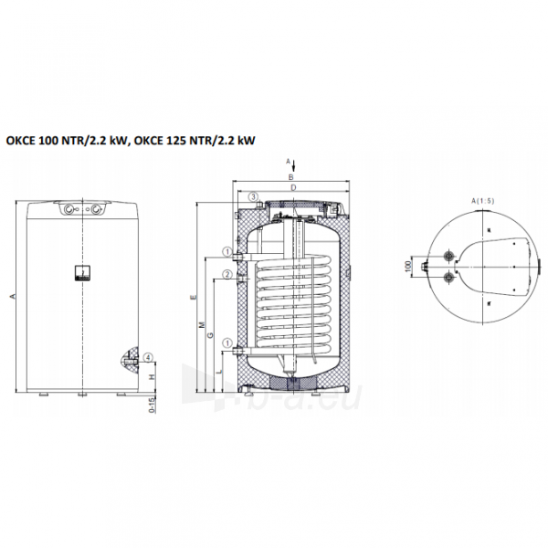 Vandens šildytuvas Dražice OKCE 125 NTR Paveikslėlis 2 iš 2 310820253677
