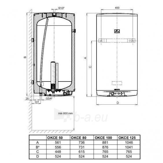 Vandens šildytuvas Dražice OKCE 125 Paveikslėlis 1 iš 5 310820253628