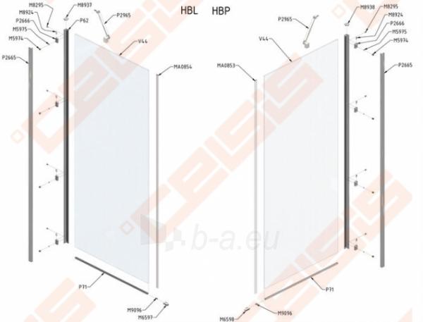 Varstomos dušo durys ROLTECHNIK HITECH HORIZON HHOP1/90/200 su brillant spalvos profiliu ir skaidriu stiklu (dešinė pusė) Paveikslėlis 2 iš 2 270770000401