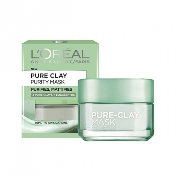 Veido mask Loreal Paris Mattifying cleansing mask Pure Clay (Purity Mask) 50 ml Paveikslėlis 1 iš 2 310820089414