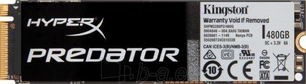 Vidinis kietasis diskas Kingston HyperX Predator 480GB PCIe Gen2 x4 (M.2) (read/write; 1400/1000 MB/s) Paveikslėlis 1 iš 1 310820044505