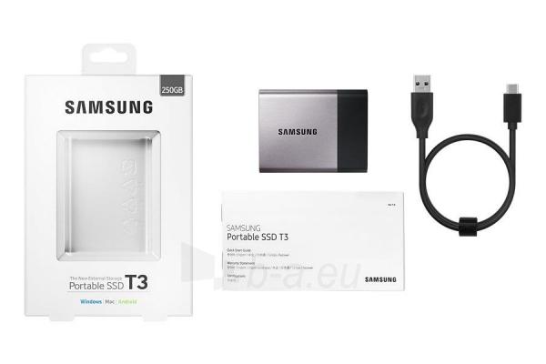 Vidinis kietasis diskas Samsung SSD T3 series, 250GB, 450Mb/s, 74 x 58 x 10.5 mm Paveikslėlis 9 iš 11 310820037459