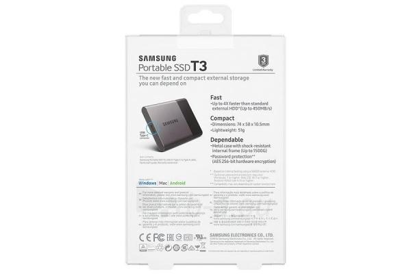 Vidinis kietasis diskas Samsung SSD T3 series, 250GB, 450Mb/s, 74 x 58 x 10.5 mm Paveikslėlis 3 iš 11 310820037459