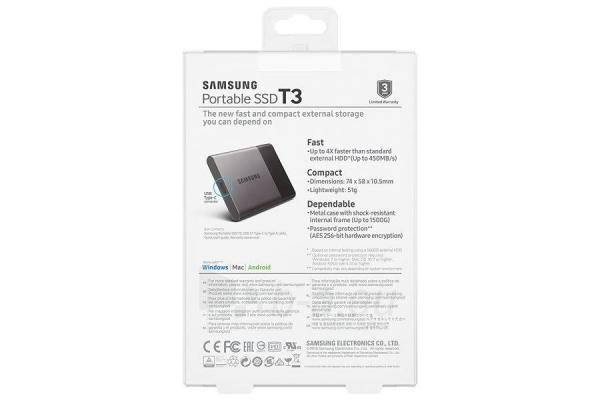 Vidinis kietasis diskas Samsung SSD T3 series, 2TB, 450Mb/s, 74 x 58 x 10.5 mm Paveikslėlis 3 iš 11 310820039591
