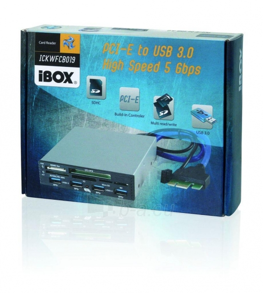 Vidinis kortelių skaitytuvas iBOX PCI-EX to USB3.0, Juodas Paveikslėlis 3 iš 3 250255122635
