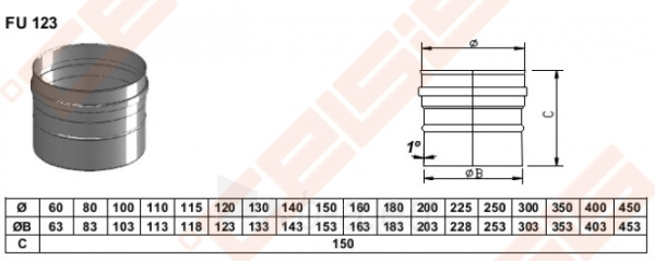 Vienasienė nerūdijančio plieno jungtis sujungti dūmtraukį ir katilą arba židinį JEREMIAS FU32 Dn180 Paveikslėlis 2 iš 4 30005601425