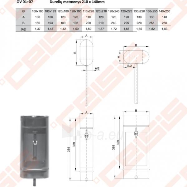 Vienasienė nerūdijančio plieno pravala JEREMIAS OV/EW01+07 Dn120 x 240 su durelėmis (210 x 140mm) ir kondensato surinkėju Paveikslėlis 2 iš 3 30005601884