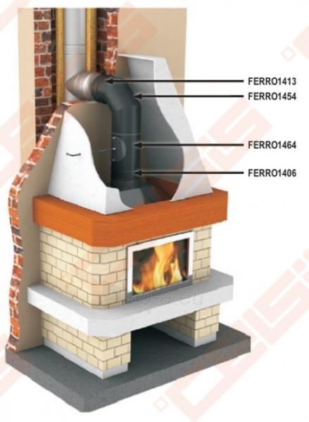 Vienasienis juodo plieno komplektas Dn150 JEREMIAS Ferro1416: dūmtraukis-elbow 90° su užsklanda ir pravala, sienine apdaila, sieninė rozetė Paveikslėlis 3 iš 5 30005601886