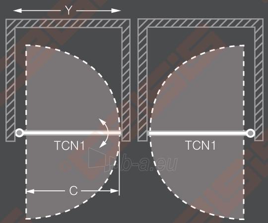 Vieno elemento varstomos dušo durys ROLTECHNIK TOWER LINE TCN1/90 skirtos montuoti į nišą su brillant spalvos profiliu ir skaidriu stiklu Paveikslėlis 3 iš 3 270770000421