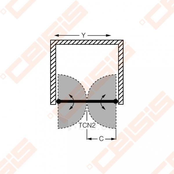 Vieno elemento varstomos dušo durys ROLTECHNIK TOWER LINE TCN2/80 skirtos montuoti į nišą su brillant spalvos profiliu ir skaidriu stiklu Paveikslėlis 4 iš 4 270770000423
