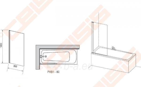 Vienos dalies stabili vonios sienelė RAVAK PVS1-80 su satino spalvos profiliu ir skaidriu stiklu Paveikslėlis 2 iš 2 270717001176