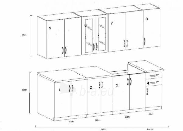 Virtuvės komplektas Bazylia (2,60 m) Paveikslėlis 2 iš 2 250451000038