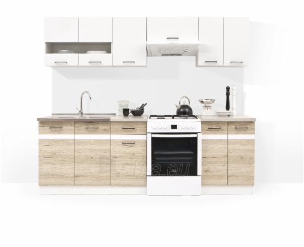 Virtuvės komplektas Junona 240 Balta blizgi/Ąžuolas Sanremo Paveikslėlis 1 iš 3 310820038017