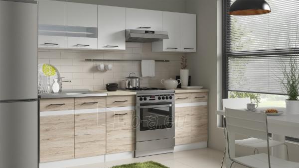 Virtuvės komplektas Junona 240 Balta blizgi/Ąžuolas Sanremo Paveikslėlis 2 iš 3 310820038017