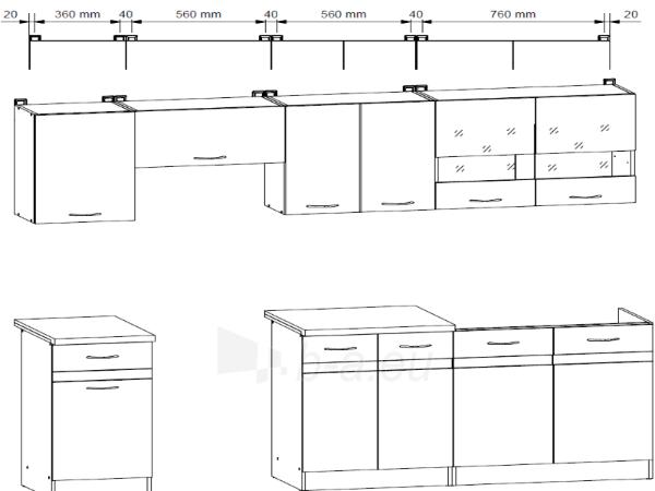 Kitchen Set Junona 240 Balta blizgi/pilka Paveikslėlis 2 iš 2 250451000145