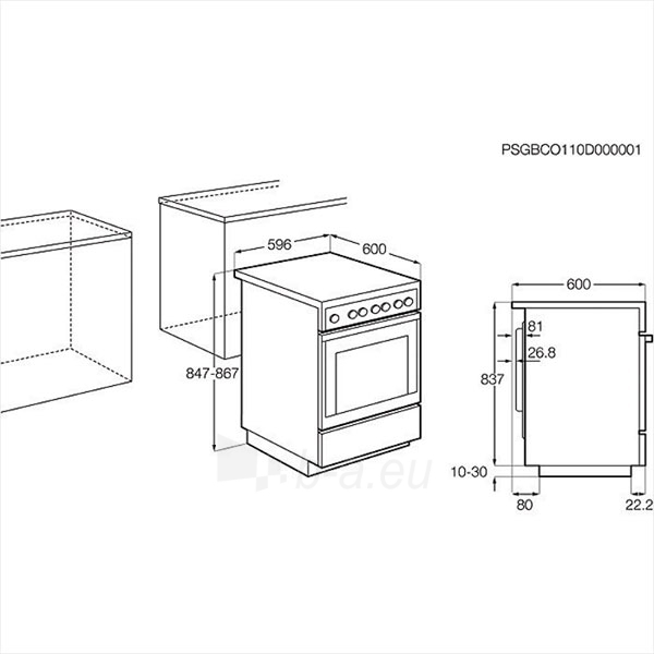 Viryklė Electrolux EKC6430AOX Paveikslėlis 2 iš 2 250111000348