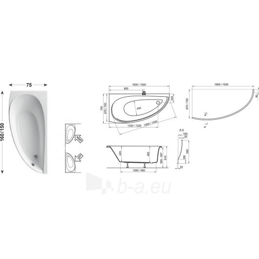 Vonia Avocado 150/160X75 L/R Paveikslėlis 4 iš 5 270716001266