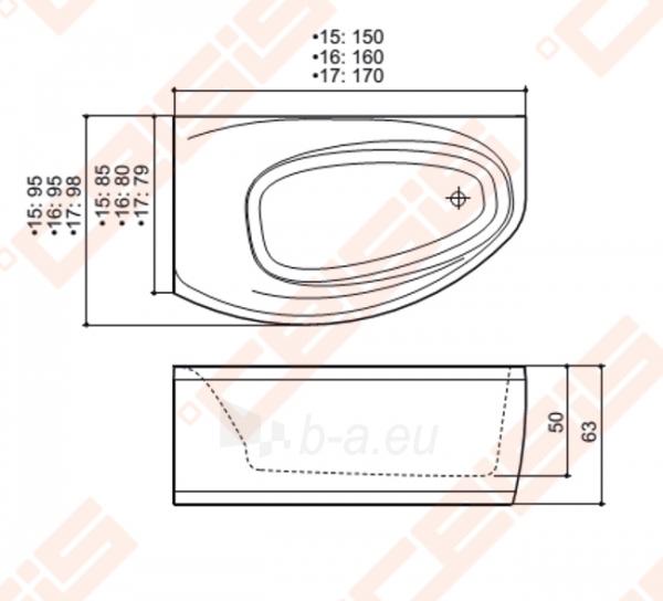 Vonia BALTECO Eclipse 150x95 cm dešinė, S1 su apdaila E15 Paveikslėlis 3 iš 3 270716000995