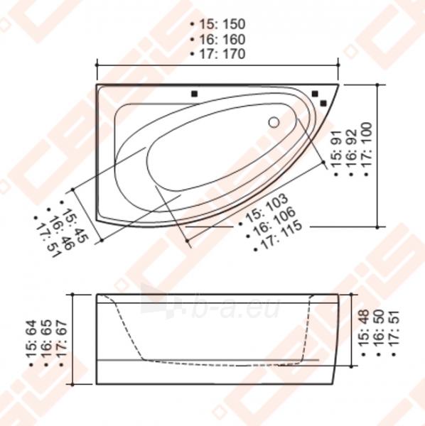 Vonia BALTECO Idea 170x100 cm kairė, su oro ir vandens masažu Combi S4 su apdaila E16 Paveikslėlis 2 iš 3 270716001003