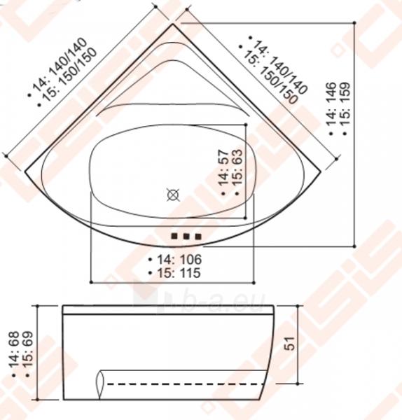 Vonia BALTECO Linea 150x150 cm, su oro bei vandens masažu Combi S4 ir apdaila E17 Paveikslėlis 4 iš 4 270716001007