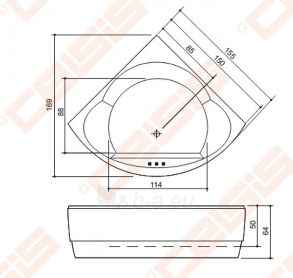 Vonia BALTECO Metro 155x155 cm,S1 be apdailos (E12), OS Paveikslėlis 3 iš 3 270716001011