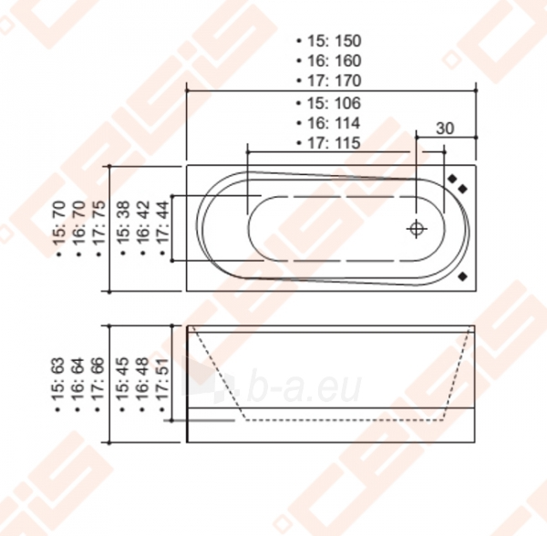 Vonia BALTECO Modul 150X70 cm su apdaila E1 bei Combi sistema S4 Paveikslėlis 4 iš 5 270716001012