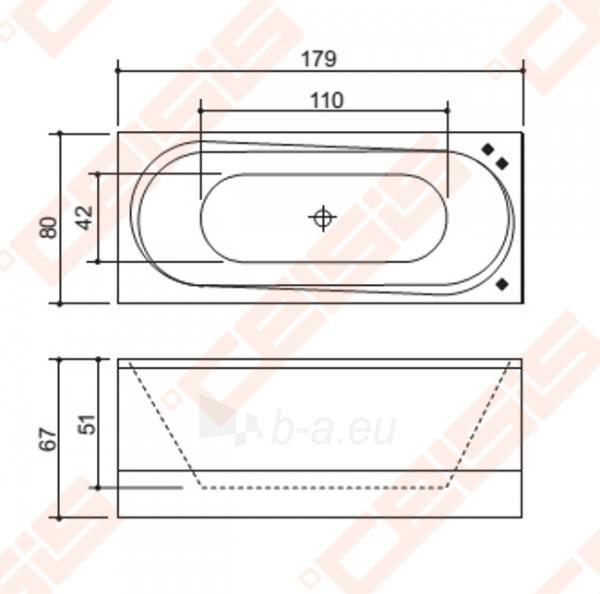 Vonia BALTECO Modul 179x80 cm su apdaila bei Hydro sistema S3 Paveikslėlis 4 iš 5 270716001016