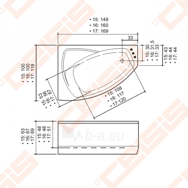 Vonia BALTECO Rhea 160x100 cm dešinė, S1 su apdaila E15 Paveikslėlis 3 iš 3 270716001018