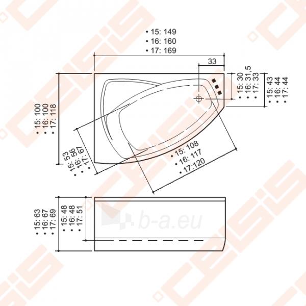 Vonia BALTECO Rhea 169x118 cm dešinė, su oro bei vandens masažu Combi S4 ir apdaila E15 Paveikslėlis 3 iš 3 270716001023