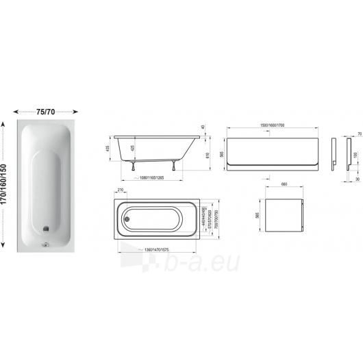 Vonia Chrome ilgis 150,160,170cm Paveikslėlis 3 iš 4 270716001270