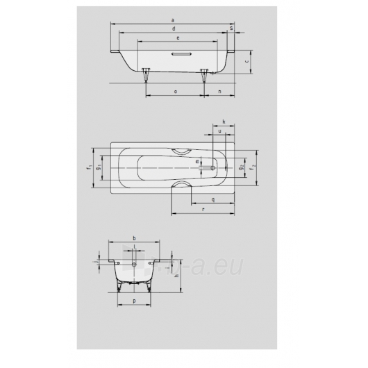 Vonia Kaldewei Saniform medium 170x70 Paveikslėlis 2 iš 3 270716000960