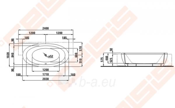 Vonia LAUFEN Alessi One 204x102 cm, dalinai įmontuojama Paveikslėlis 2 iš 2 270716001095