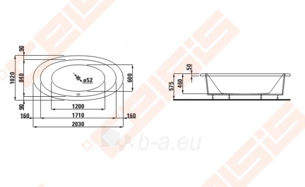 Vonia LAUFEN Alessi One 204x102 cm, įleidžiama Paveikslėlis 2 iš 2 270716001096